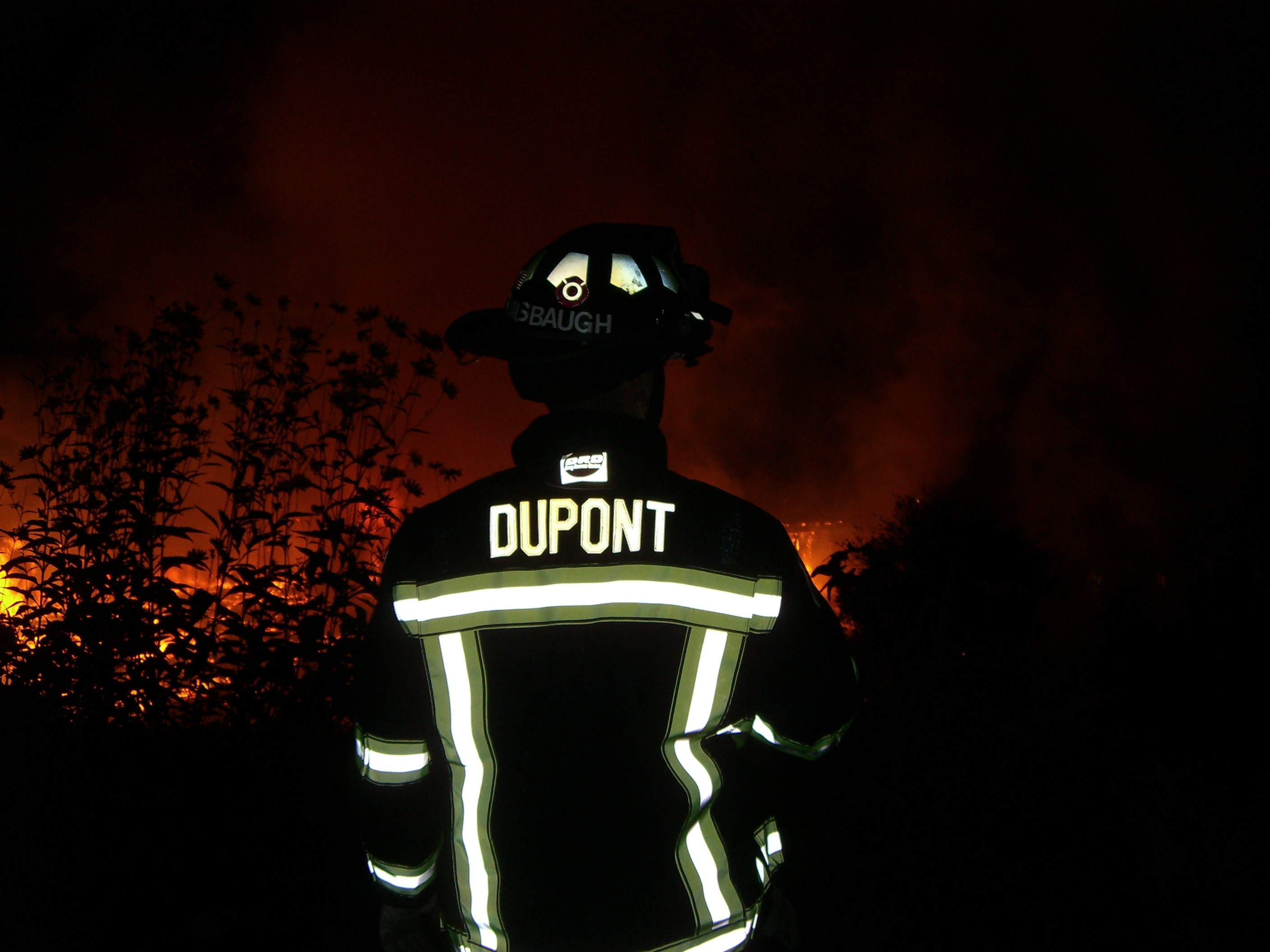 Firefighter DuPont at Night